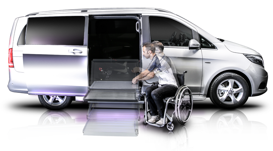 Mercedes benz classe v illumnia auto per disabili by rolfi for Garage di accesso laterale